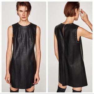 NWOT. Zara Embossed Faux Leather Dress. Size XS.